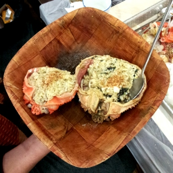 Crab bellies filled with rice, crab butter, seaweed and sesame seeds.